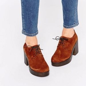 Vagabond Marva Tan Suede Lace Up Heeled Shoes